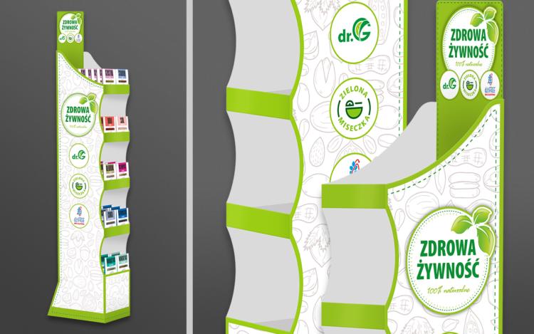 agencja reklamowa olsztyn MVIZUAL reklama ekspozytor display kartonowy kaszerowany podłogowy zdrowa żywność