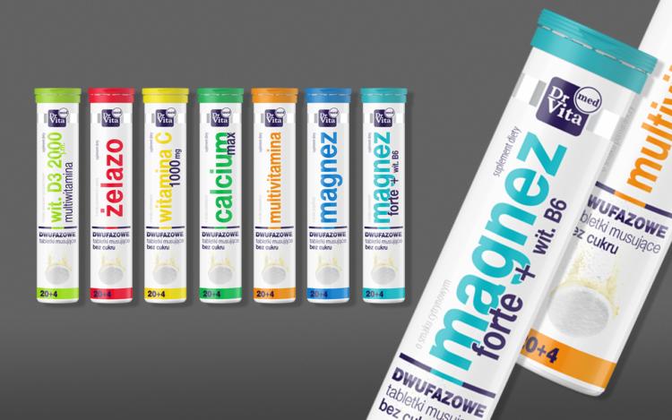 agencja reklamowa olsztyn MVIZUAL reklama projekt opakowania etykiety dr vita med tabletki musujące suplementy diety