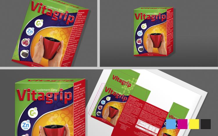reklama olsztyn MVIZUAL agencja reklamowa opakowania etykiety VITAGRIP suplement diety