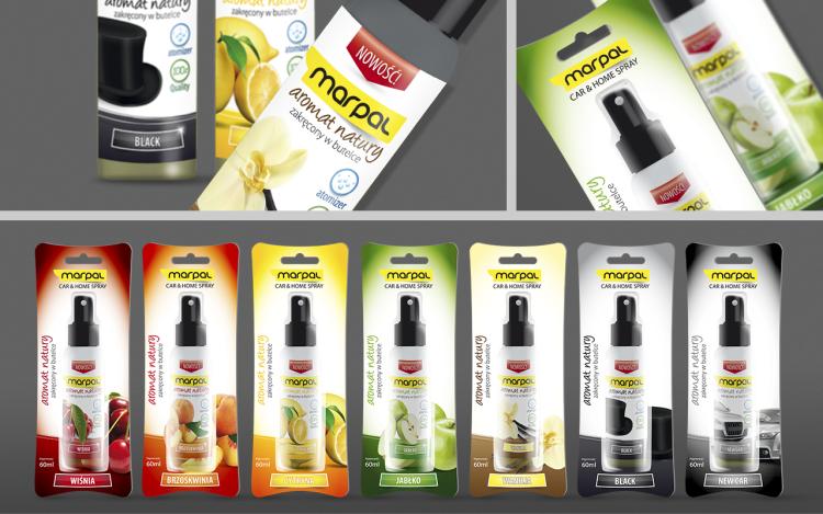 reklama olsztyn MVIZUAL agencja reklamowa olsztyn projekt opakowania etykiety marpal zapach samochodowy seria