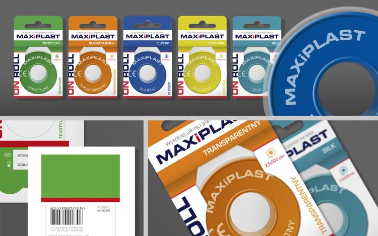 reklama olsztyn MVIZUAL agencja reklamowa olsztyn projekt opakowania etykiety maxiplast plaster na rolce seria