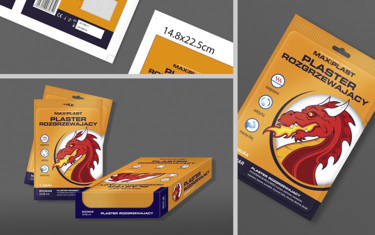 reklama olsztyn MVIZUAL agencja reklamowa olsztyn projekt opakowania etykiety maxiplast plaster rozgrzewający