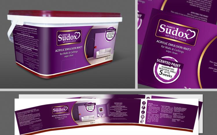 reklama olsztyn MVIZUAL agencja reklamowa olsztyn projekt opakowania etykiety sudox paints farba